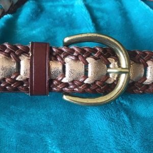 Loft Leather Woven Brown Belt with Gold Accents.